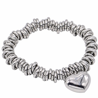 Silverworks X1079 Links of London with Puff Heart Charm Bracelet (Silver)