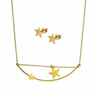 Silverworks X3145 Star Pendant Necklace with Earrings