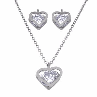 Silverworks X3212 Heart Pendant Necklace and Earrings