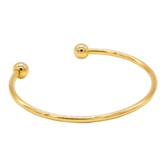 Silverworks X3620 18K Gold Plated Oval Bangle with Ball on End
