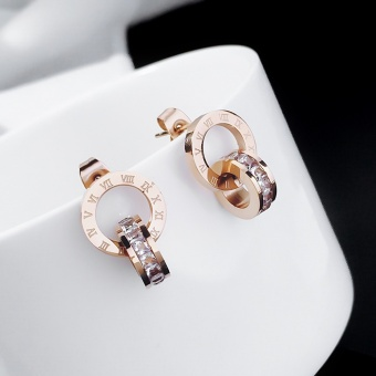 Simple elegant rose gold titanium steel stud