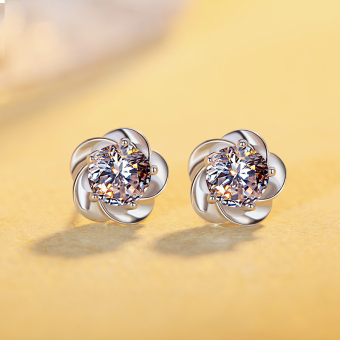 Simple female elegant student earrings silver stud