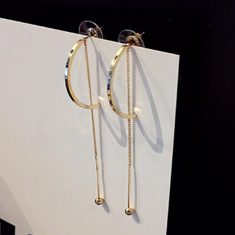 Simple tassled elegant crystal stud hanging earrings