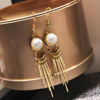 Simple tassled elegant pearl stud European and American earrings
