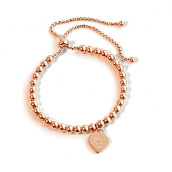 Simple women's titanium steel plated rose gold bracelet couple's bracelet