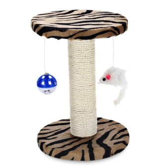 Single Platform Kitten Small Cat Tree Tower Playground With Scratching Posts Hanging Toy (Zebra Stripes) - intl