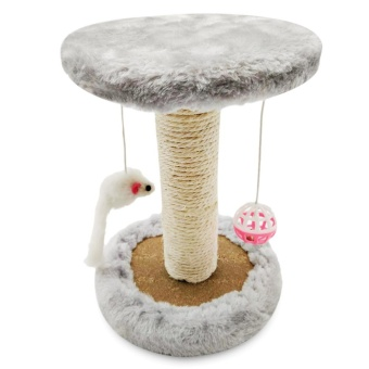 Single Platform Kitten Small Cat Tree Tower Playground WithScratching Posts Hanging Toy (Smoky Grey) - intl