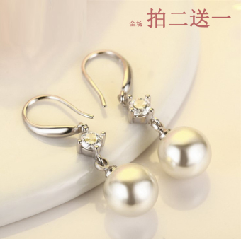 Size pearl stud silver earrings