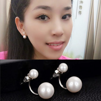 Size s925 Song Huiqiao celebrity inspired double-sided earrings pearl stud