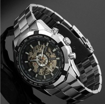 Skeleton Automatic Watches For Men Silver Stainless Steel Wrist Watch