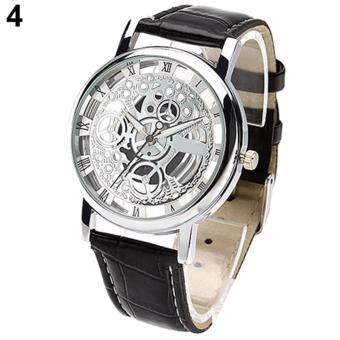Skeleton Watch(SILVER)New Brand Luxury Fashion Casual Stainless Steel Men Skeleton Watch Women Dress Wristwatch Steel Quartz Hollow Watches Men
