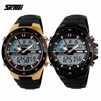 Skmei 1016 Casual Men Digital Quartz Sports Watch Set of 2 (Multicolor)