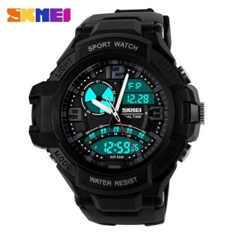 SKMEI 1017 Men's Military Dual time Date Calendar LED Sports Watch (Black)
