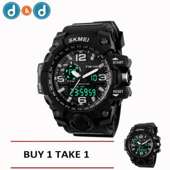 SKMEI 1155 Casual Men Digital Quartz Sports Watch (Black) BUY 1 TAKE 1