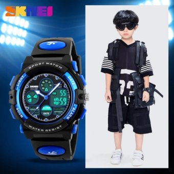 SKMEI 1163 Children's Watches Fashion Sport Waterproof WristwatchesDual Time LED Analog Digital Quartz Watch For Boys Kids Original -intl