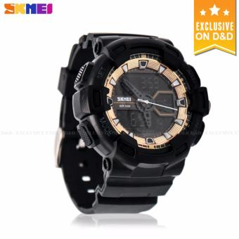 SKMEI 1189 Men's Dual Time Digital Rubber Strap Sport Watch Military Shockproof LED Wristwatch