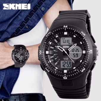 SKMEI 1198 Men' Dual Display Rubber Strap Sport Watch Digital LED Quartz Wristwatch(Black)