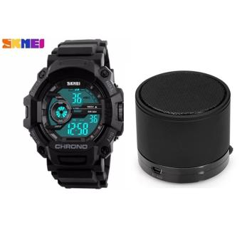 SKMEI 1233 Men Sports Digital Quartz Watch Water Resistant (Black) With Mini Bluetooth Speaker with MP3 Player