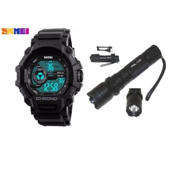 SKMEI 1233 Men Sports Digital Quartz Watch Water Resistant (Black) With Rechargeable Police Flashlight with Stun Gun Taser (Black)
