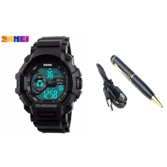 SKMEI 1233 Men Sports Digital Quartz Watch Water Resistant (Black) With Spy Pen Camera