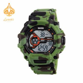 SKMEI 1233 Men Sports Digital Quartz Watch Water Resistant (Green Camouflage)