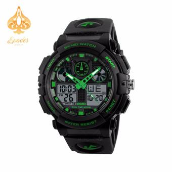 SKMEI 1270 Dual Time Display Big Face Men's LED Digital Watch Chronograph Sports Watches Military (Green)