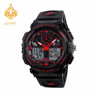 SKMEI 1270 Dual Time Display Big Face Men's LED Digital Watch Chronograph Sports Watches Military (Red)