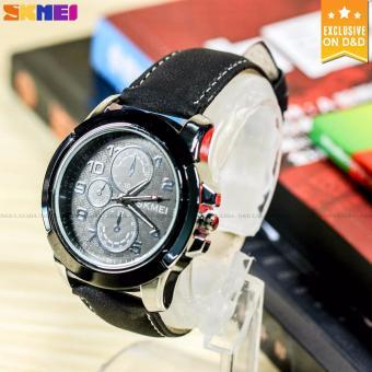 SKMEI 3999 Men's Fashion Leather Strap Sports Quartz Wrist Watch BLACK - 3