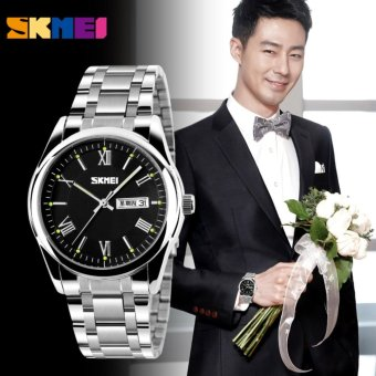 SKMEI 9056 Mens Automatic Watch Mens Fashion Steel band clock top quality famous china brand waterproof luxury military vintage - intl Price Philippines