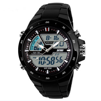 SKMEI Brand Casual Men Sports Watches Digital Quartz Women Fashion Dress Wristwatches LED Dive Military Watch(Black)