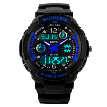 SKMEI Female Sport LED Waterproof Rubber Strap Wrist Watch - Blue 0931