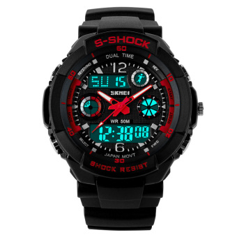 SKMEI Female Sport LED Waterproof Rubber Strap Wrist Watch - Red 0931