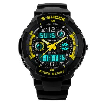 SKMEI Female Sport LED Waterproof Rubber Strap Wrist Watch - Yellow 0931