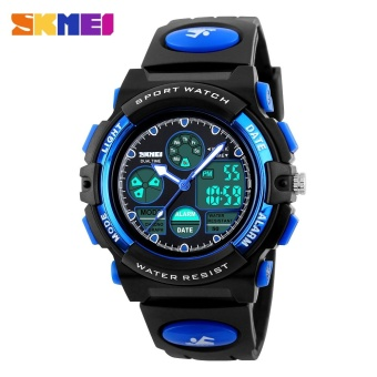 SKMEI Kids Sports Military Waterproof Wristwatches Dual Display LED Digital Quartz Watches 1163 - Blue - intl
