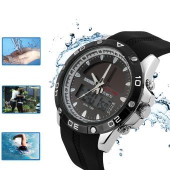 SKMEI Men Solar Power Sport Watches Waterproof Digital Analog Outdoor Mountain Climbing Diving Camping Watches (Black+Silver)