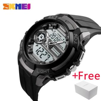 SKMEI Men Sports Watches LED Back Light 50M Water Resistant Shock Military Watch Quartz Digital Dual Display Wristwatches 1202