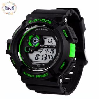 SKMEI Men's LED Watch Water Resistant Day Date Alarm Stopwatch Sports Wristwatch(GREEN)