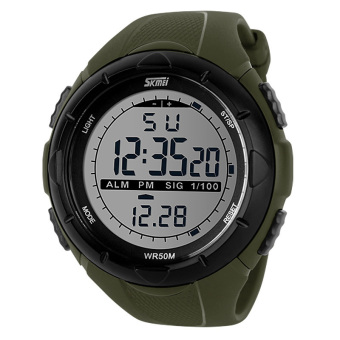 SKMEI Men's Sport LED Waterproof Rubber Strap Wrist Watch -Green 1025