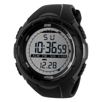 SKMEI Men's Sport LED Waterproof Rubber Strap Wrist Watch -Titanium 1025 - Intl
