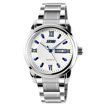 SKMEI Men's Silver Stainless Steel Band Wrist Watch+Blue 9082 Price Philippines