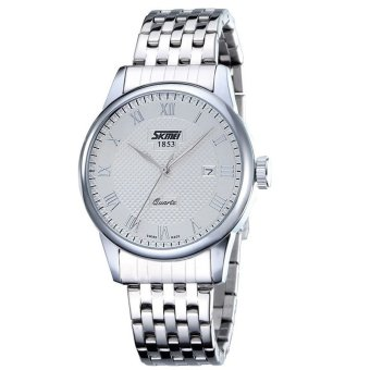 Skmei Retro Fashion Strip Watches Waterproof (Silver/White)