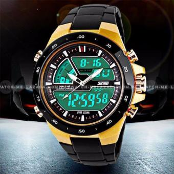 SKMEI S-Shock Fashion Sports Black Silicone Strap Watch (Black and Gold)