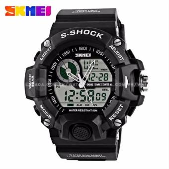 SKMEI S-Shock Men's Large Dial Military Sport Full Feature Dual Time Rubber Strap Watch (Black)