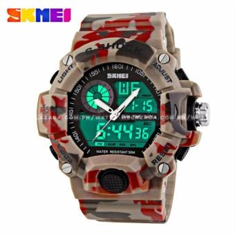 SKMEI S-Shock Men's Large Dial Military Sport Full Feature Dual Time Rubber Strap Watch (Red Camoflage) Price Philippines