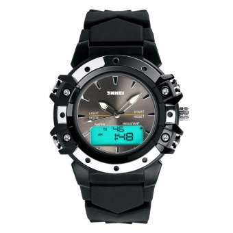 SKMEI Unisex Sport Waterproof Rubber Strap Wrist Watch -Black 0821