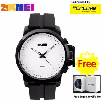 SKMEI WHSKWT028 Business& Casual Quartz Dial and Silicone Strap Unisex 30M Waterproof Sport Watch with Free Skmei Gift Box