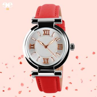 SKMEI Women's Leather Strap Quartz Watch (Red) Price Philippines