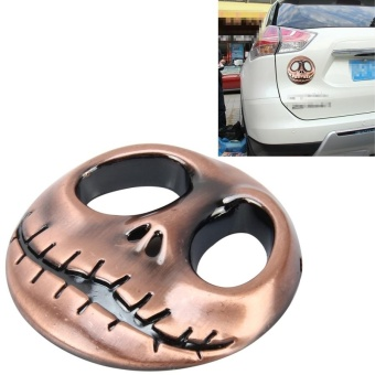Skull Bone Shape Auto Sticker 3D Metal Fashion CarStickers(Champagne Gold) - intl