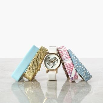 SM Accessories Girls Heart Interchangeable Strap Watch