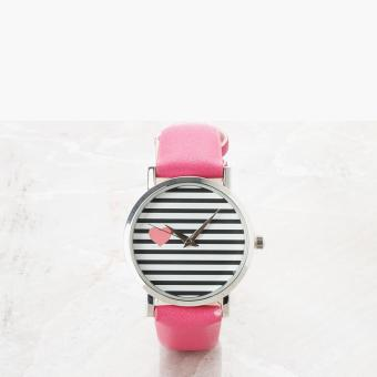 SM Accessories Girls Heart Stripes Analog Watch (Pink)